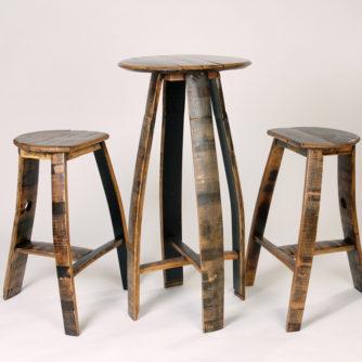 Flat seat bar set bourbon barrel furniture bourbon for Petite table bar