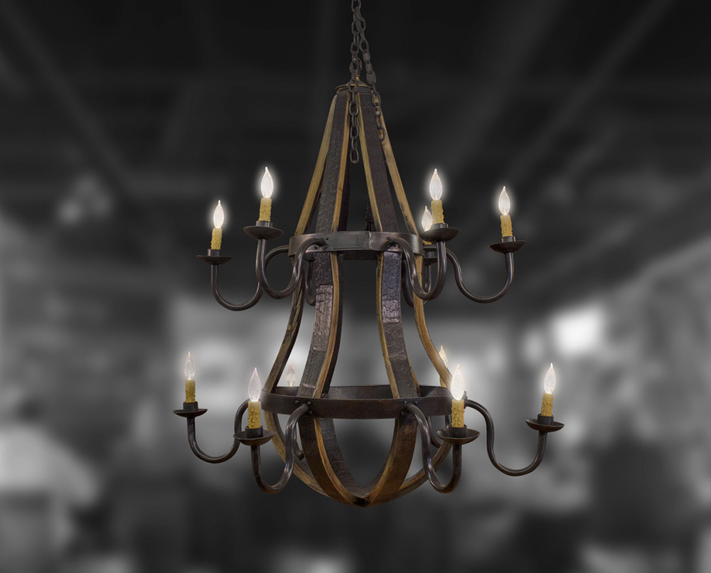 12 light two tier chandelier bourbon barrel furniture bourbon 12 light two tier chandelier mozeypictures Image collections