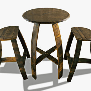 "26"" Round Table Set With Flat Stool"
