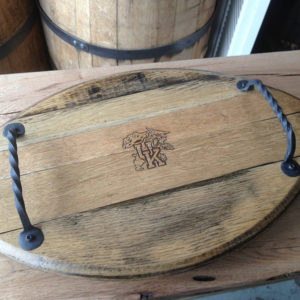 Bourbon Barrel Serving Tray With Horse Bridals As Handles